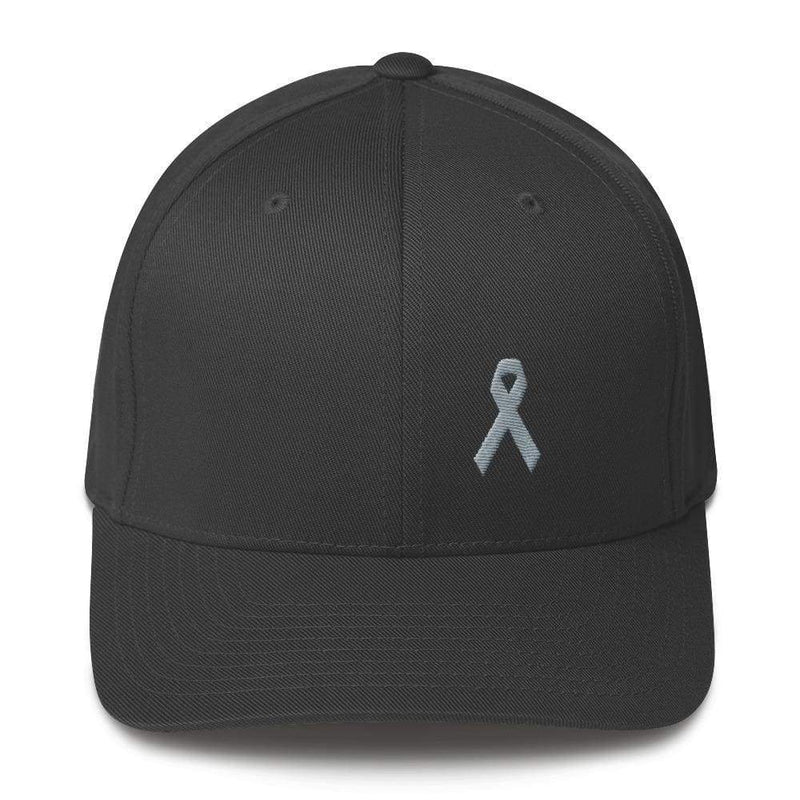 Parkinsons Awareness & Brain Tumor Awareness Twill Flexfit Fitted Hat With Grey Ribbon - S/m / Dark Grey - Hats
