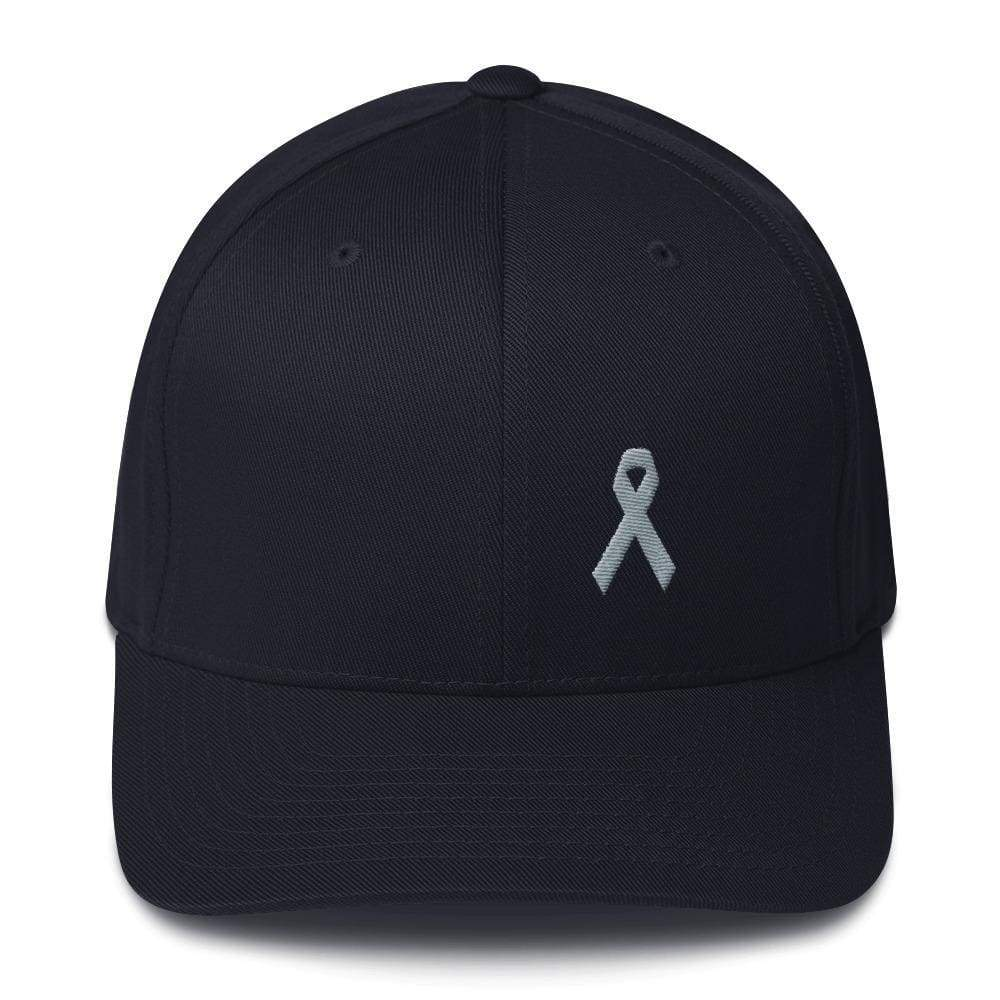 Parkinsons Awareness & Brain Tumor Awareness Twill Flexfit Fitted Hat With Grey Ribbon - S/m / Dark Navy - Hats