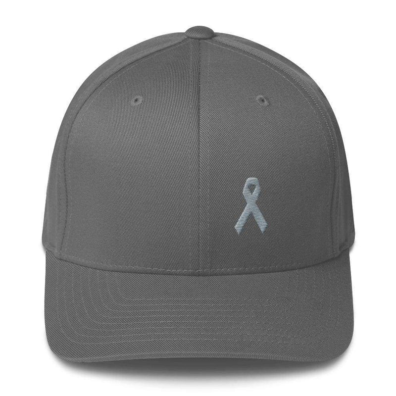 Parkinsons Awareness & Brain Tumor Awareness Twill Flexfit Fitted Hat With Grey Ribbon - S/m / Grey - Hats