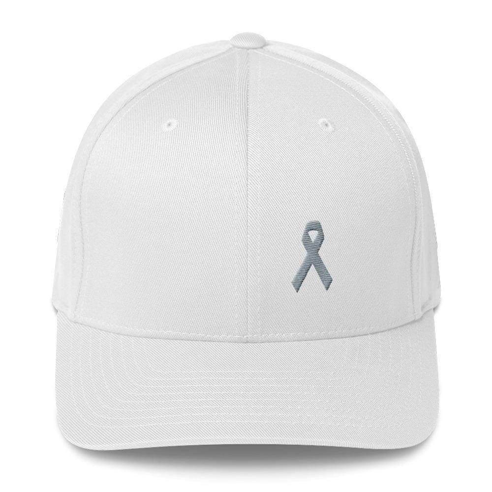 Parkinsons Awareness & Brain Tumor Awareness Twill Flexfit Fitted Hat With Grey Ribbon - S/m / White - Hats