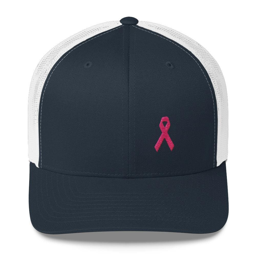 Pink Ribbon Snapback Trucker Hat - Breast Cancer Awareness Trucker - One-size / Navy/ White - Hats