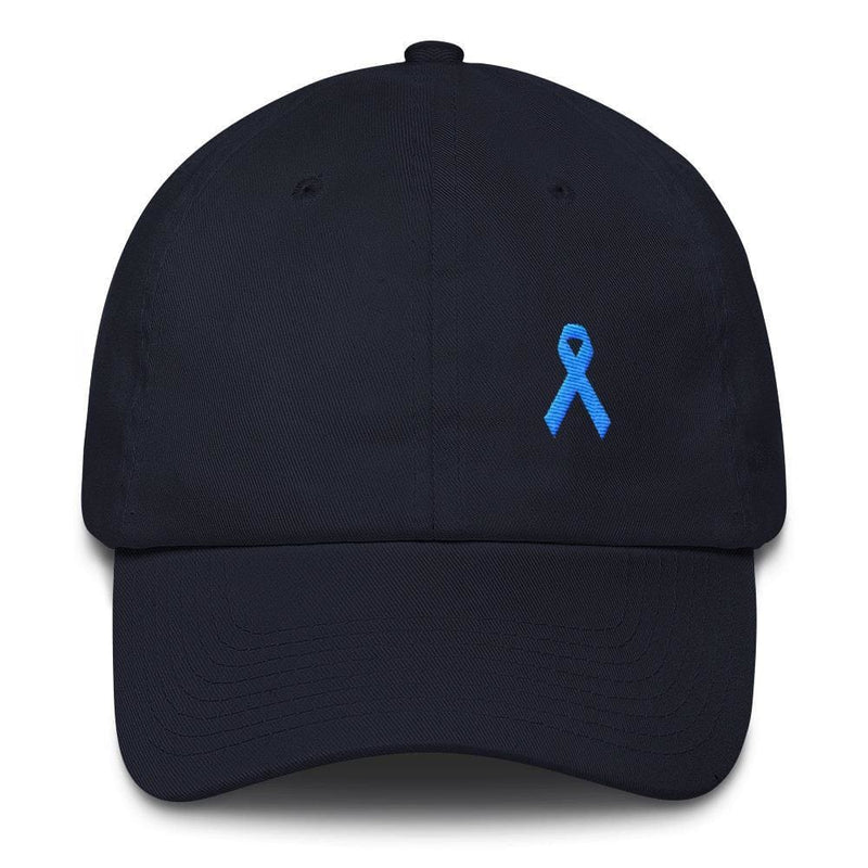 Prostate Cancer Awareness Dad Hat with Light Blue Ribbon - One-size / Navy - Hats