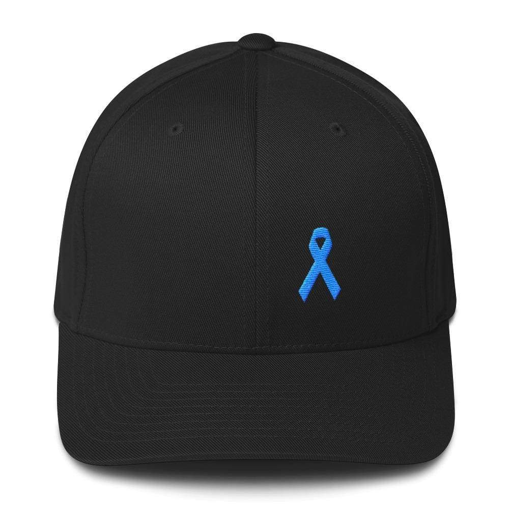 Prostate Cancer Awareness Fitted Hat With Light Blue Ribbon - S/m / Black - Hats