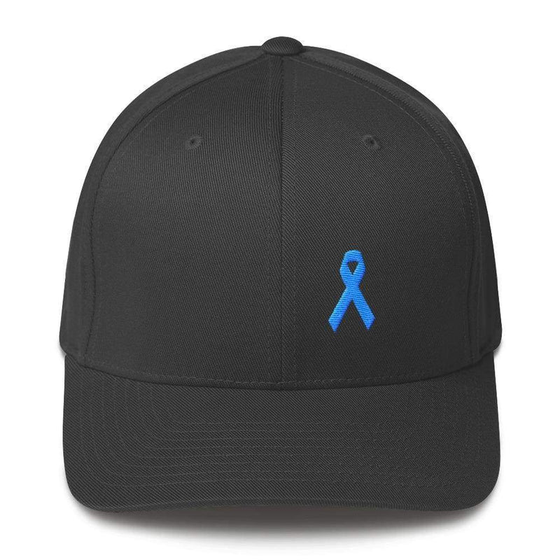 Prostate Cancer Awareness Fitted Hat With Light Blue Ribbon - S/m / Dark Grey - Hats
