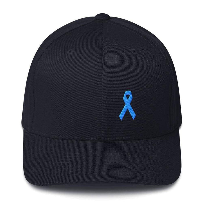 Prostate Cancer Awareness Fitted Hat With Light Blue Ribbon - S/m / Dark Navy - Hats
