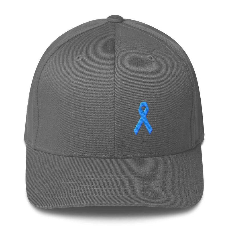 Prostate Cancer Awareness Fitted Hat With Light Blue Ribbon - S/m / Grey - Hats