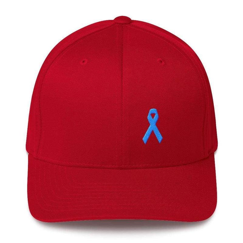 Prostate Cancer Awareness Fitted Hat With Light Blue Ribbon - S/m / Red - Hats