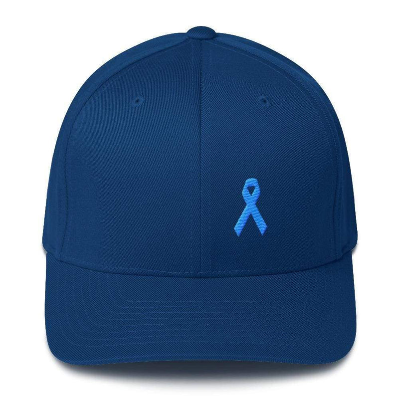 Prostate Cancer Awareness Fitted Hat With Light Blue Ribbon - S/m / Royal Blue - Hats