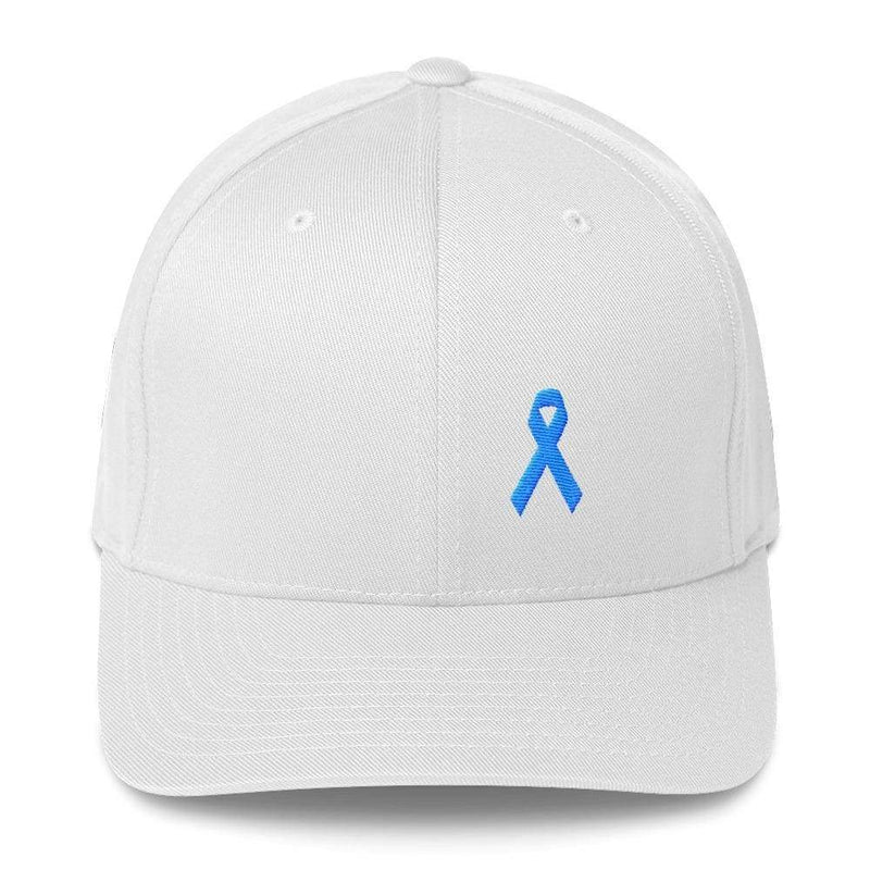 Prostate Cancer Awareness Fitted Hat With Light Blue Ribbon - S/m / White - Hats