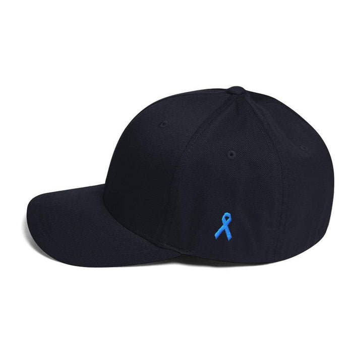 Prostate Cancer Awareness Fitted Hat With Ribbon On The Side - S/m / Dark Navy - Hats