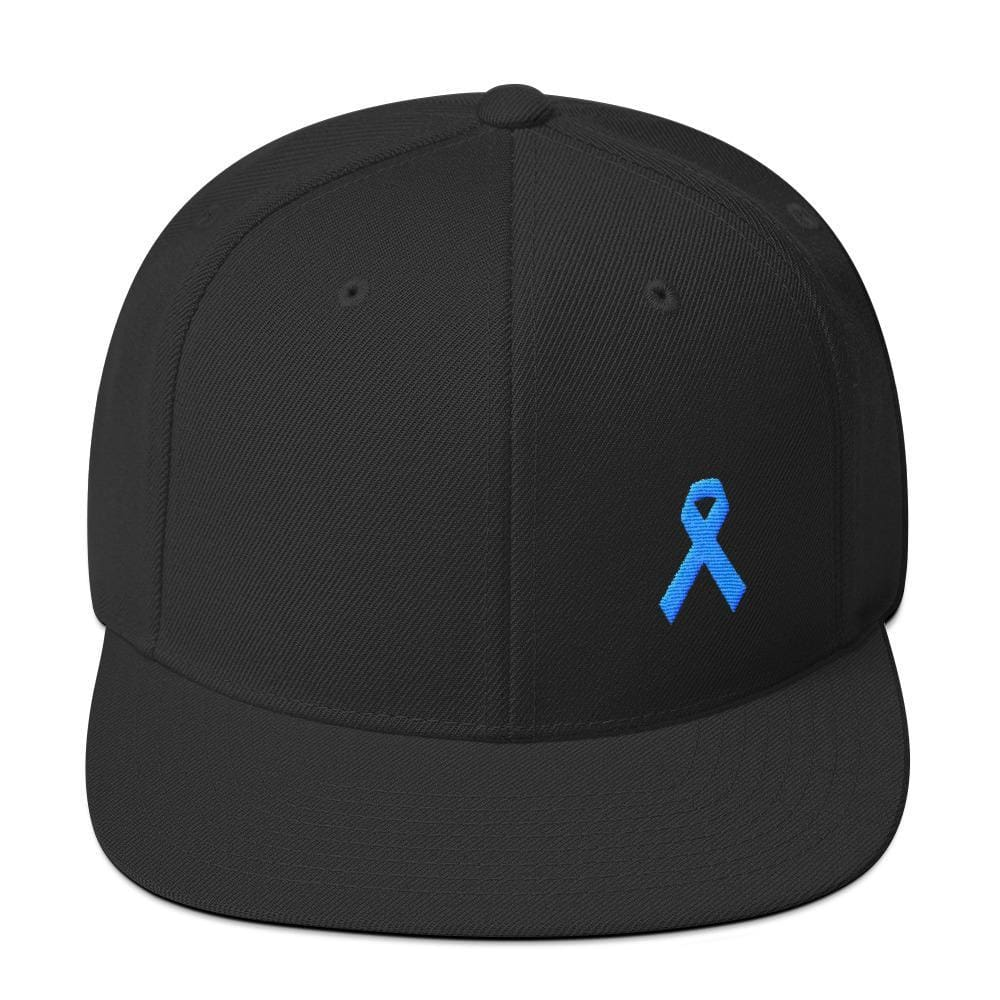 Prostate Cancer Awareness Flat Brim Snapback Hat with Light Blue Ribbon - One-size / Black - Hats