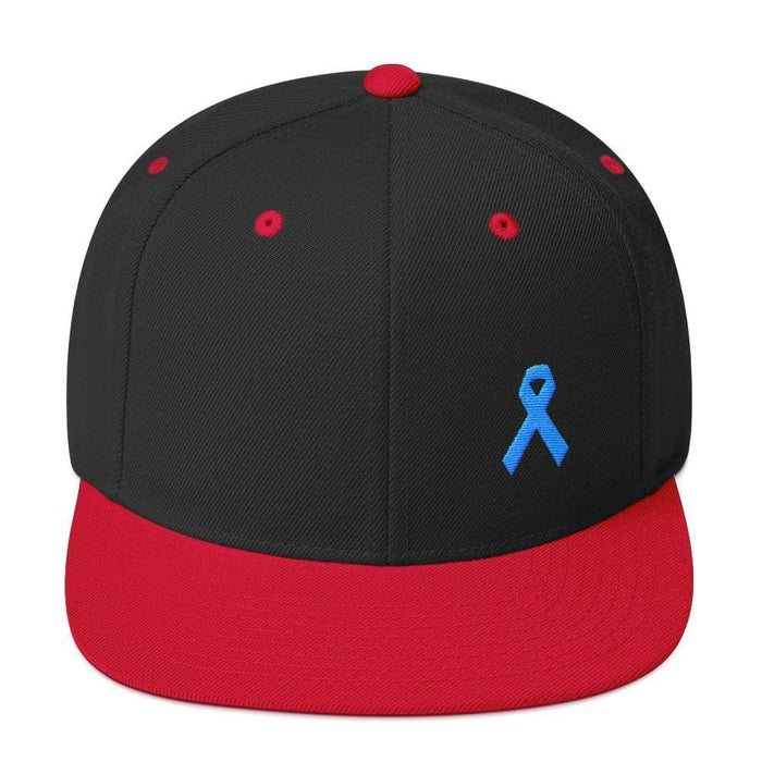 Prostate Cancer Awareness Flat Brim Snapback Hat with Light Blue Ribbon - One-size / Black/ Red - Hats