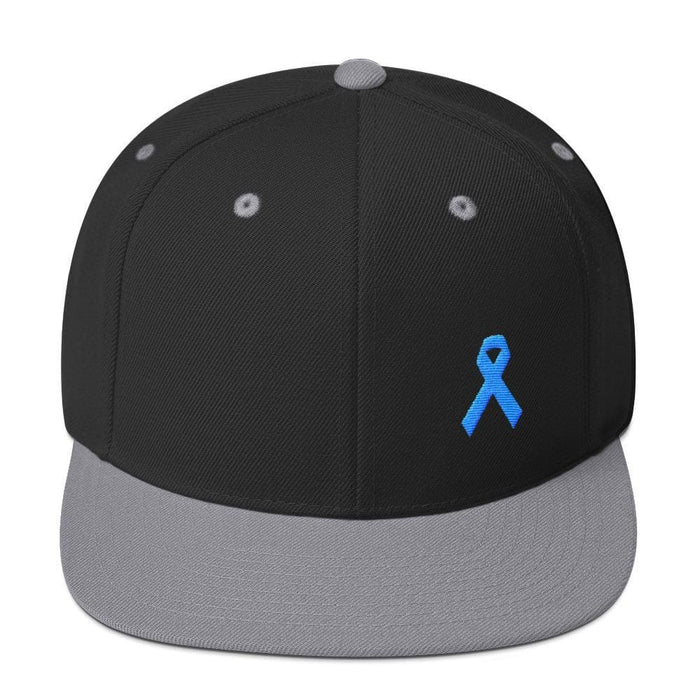 Prostate Cancer Awareness Flat Brim Snapback Hat with Light Blue Ribbon - One-size / Black/ Silver - Hats