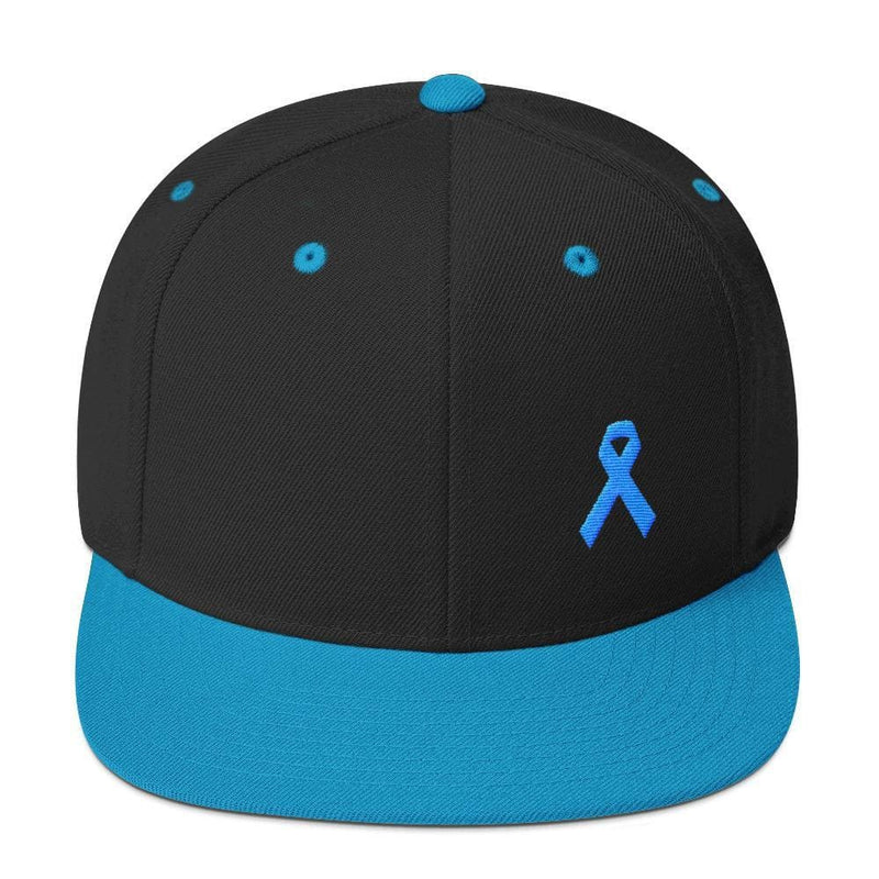 Prostate Cancer Awareness Flat Brim Snapback Hat with Light Blue Ribbon - One-size / Black/ Teal - Hats