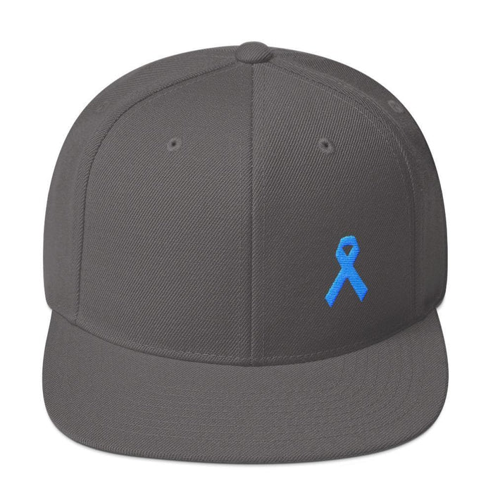 Prostate Cancer Awareness Flat Brim Snapback Hat with Light Blue Ribbon - One-size / Dark Grey - Hats
