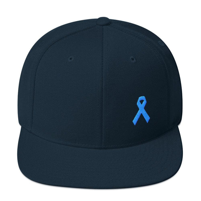 Prostate Cancer Awareness Flat Brim Snapback Hat with Light Blue Ribbon - One-size / Dark Navy - Hats