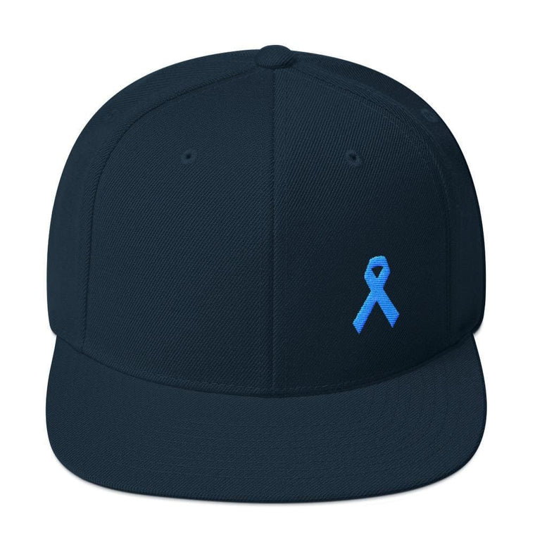 Prostate Cancer Awareness Flat Brim Snapback Hat with Light Blue Ribbon