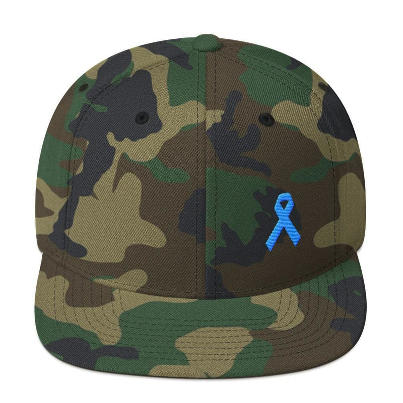 Prostate Cancer Awareness Flat Brim Snapback Hat with Light Blue Ribbon - One-size / Green Camo - Hats