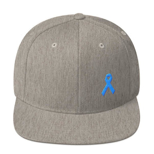 Prostate Cancer Awareness Flat Brim Snapback Hat with Light Blue Ribbon - One-size / Heather Grey - Hats