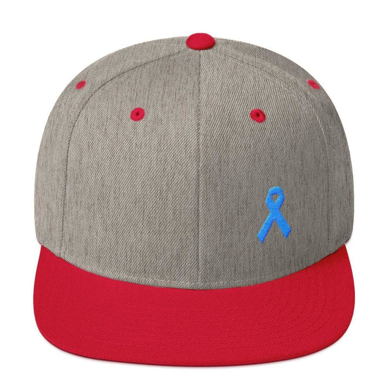 Prostate Cancer Awareness Flat Brim Snapback Hat with Light Blue Ribbon - One-size / Heather Grey/ Red - Hats