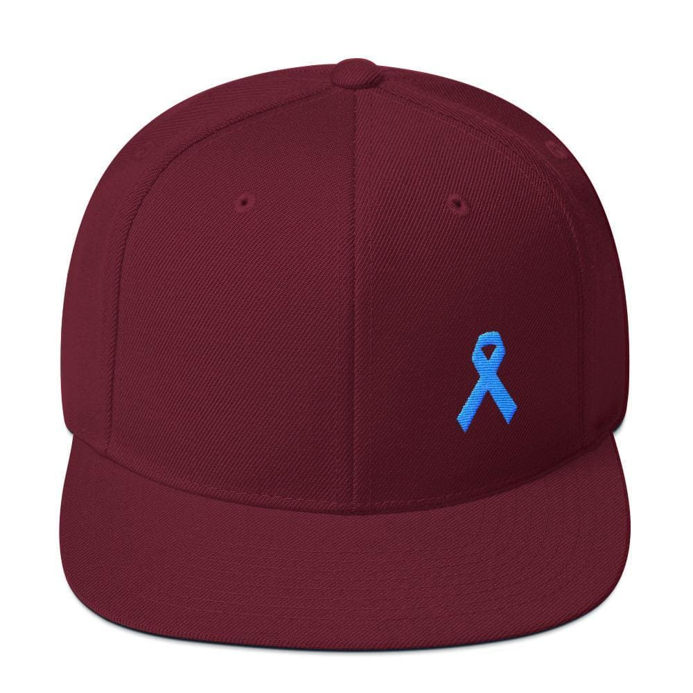 Prostate Cancer Awareness Flat Brim Snapback Hat with Light Blue Ribbon - One-size / Maroon - Hats