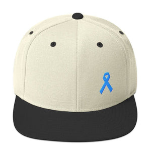 Prostate Cancer Awareness Flat Brim Snapback Hat with Light Blue Ribbon - One-size / Natural/ Black - Hats