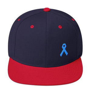 Prostate Cancer Awareness Flat Brim Snapback Hat with Light Blue Ribbon - One-size / Navy/ Red - Hats