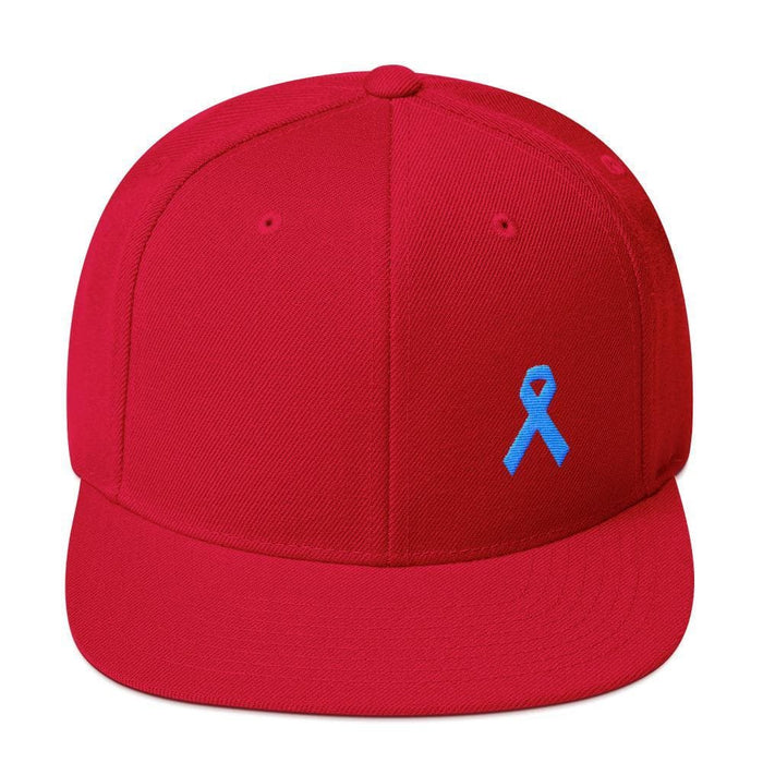 Prostate Cancer Awareness Flat Brim Snapback Hat with Light Blue Ribbon - One-size / Red - Hats
