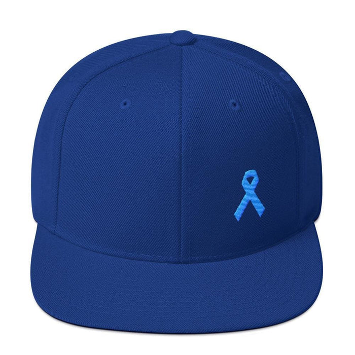 Prostate Cancer Awareness Flat Brim Snapback Hat with Light Blue Ribbon - One-size / Royal Blue - Hats