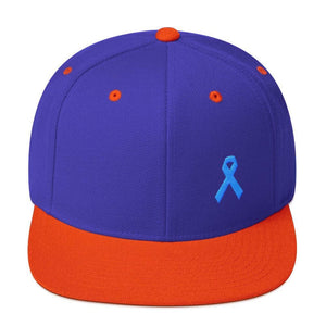Load image into Gallery viewer, Prostate Cancer Awareness Flat Brim Snapback Hat with Light Blue Ribbon - One-size / Royal/ Orange - Hats