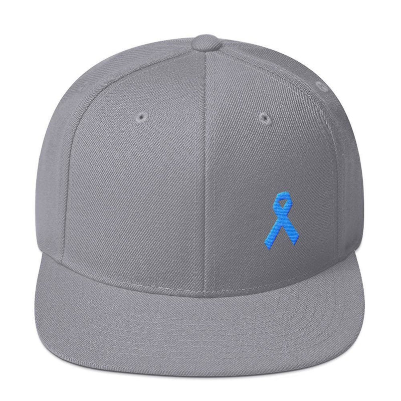 Prostate Cancer Awareness Flat Brim Snapback Hat with Light Blue Ribbon - One-size / Silver - Hats