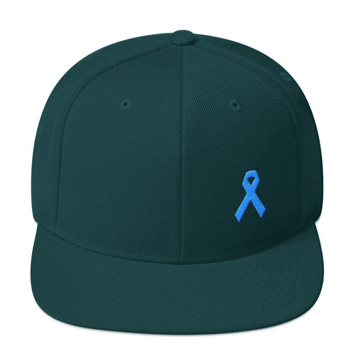 Prostate Cancer Awareness Flat Brim Snapback Hat with Light Blue Ribbon - One-size / Spruce - Hats