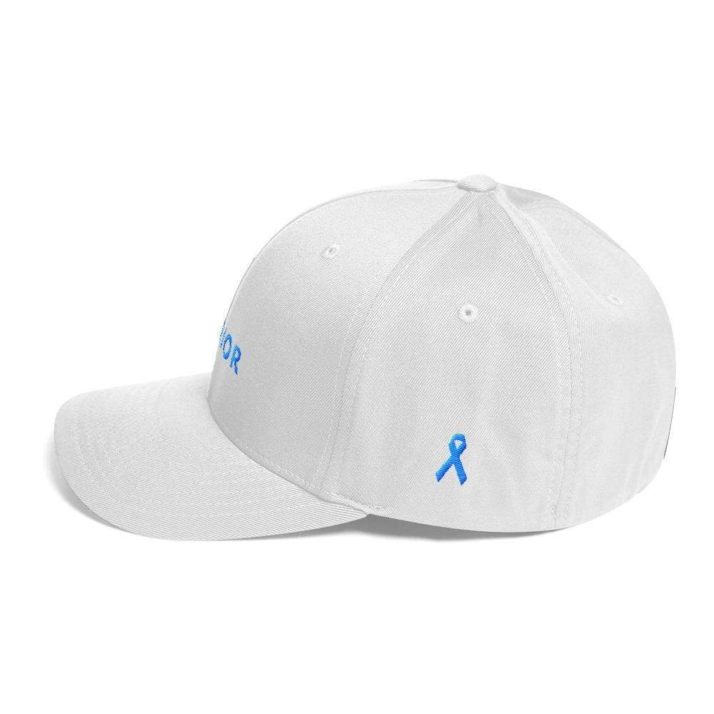 Prostate Cancer Awareness Hat With Warrior & Light Blue Ribbon On The Side - Hats
