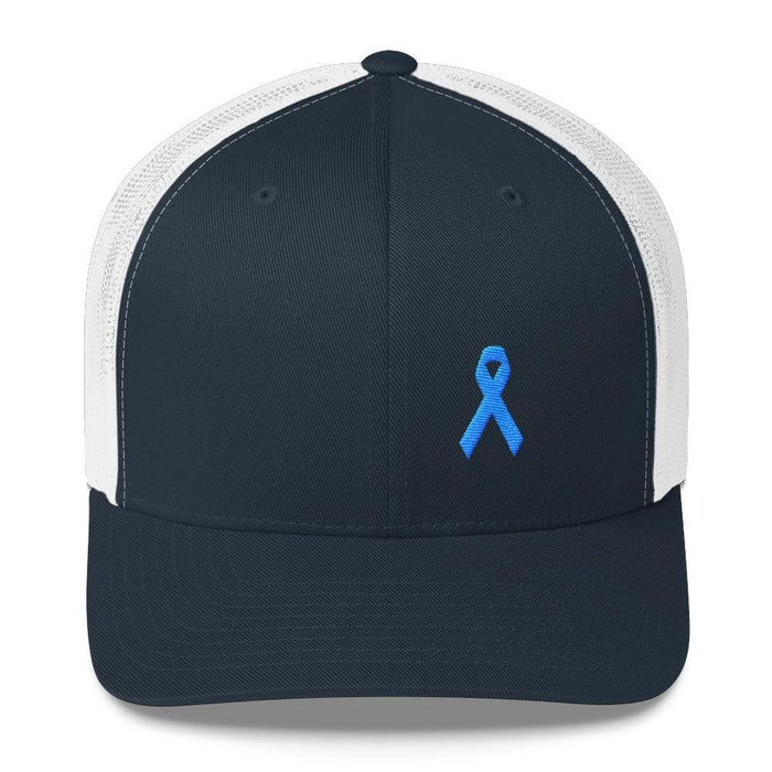 Prostate Cancer Awareness Snapback Trucker Hat with Light Blue Ribbon - One-size / Navy/ White - Hats