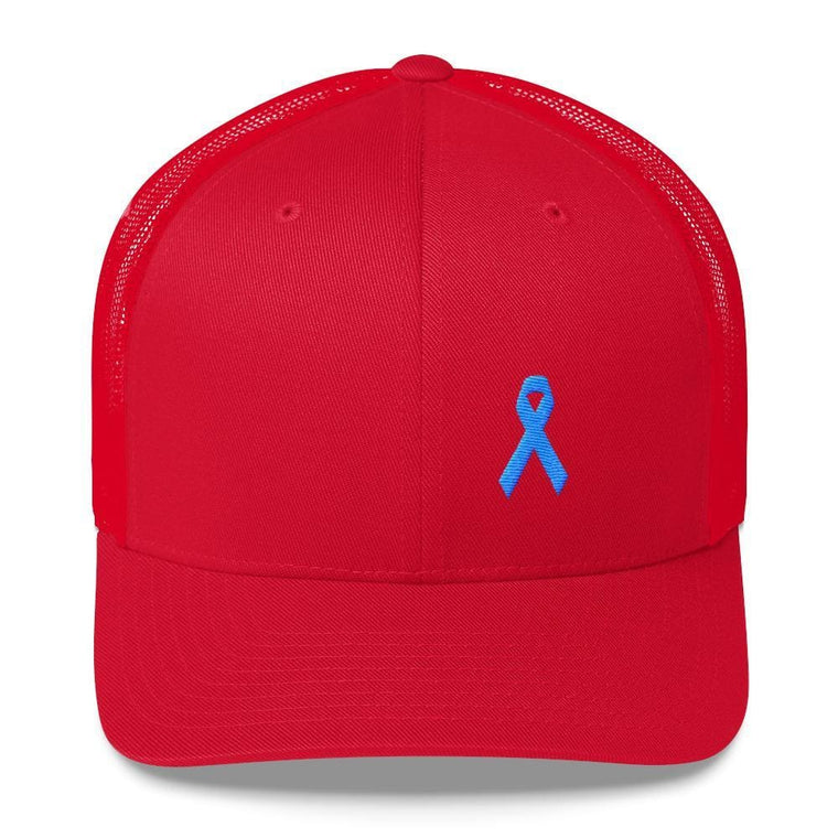 Prostate Cancer Awareness Snapback Trucker Hat with Light Blue Ribbon