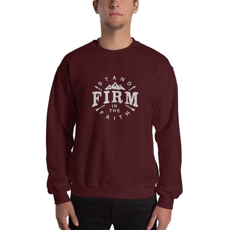 Stand Firm in the Faith Crewneck Sweatshirt - S / Maroon - Sweatshirts
