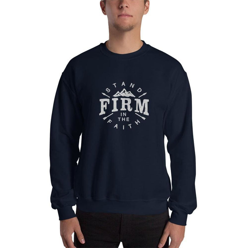 Stand Firm in the Faith Crewneck Sweatshirt - S / Navy - Sweatshirts