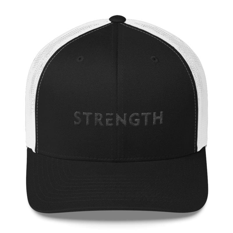 Load image into Gallery viewer, Strength Black on Black Snapback Trucker Hat - One-size / Black - Hats