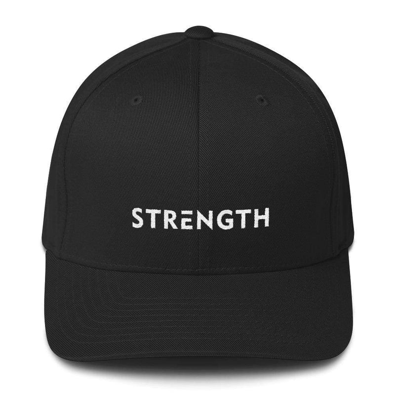 Strength Fitted Twill Flexfit Baseball Hat - S/m / Black - Hats
