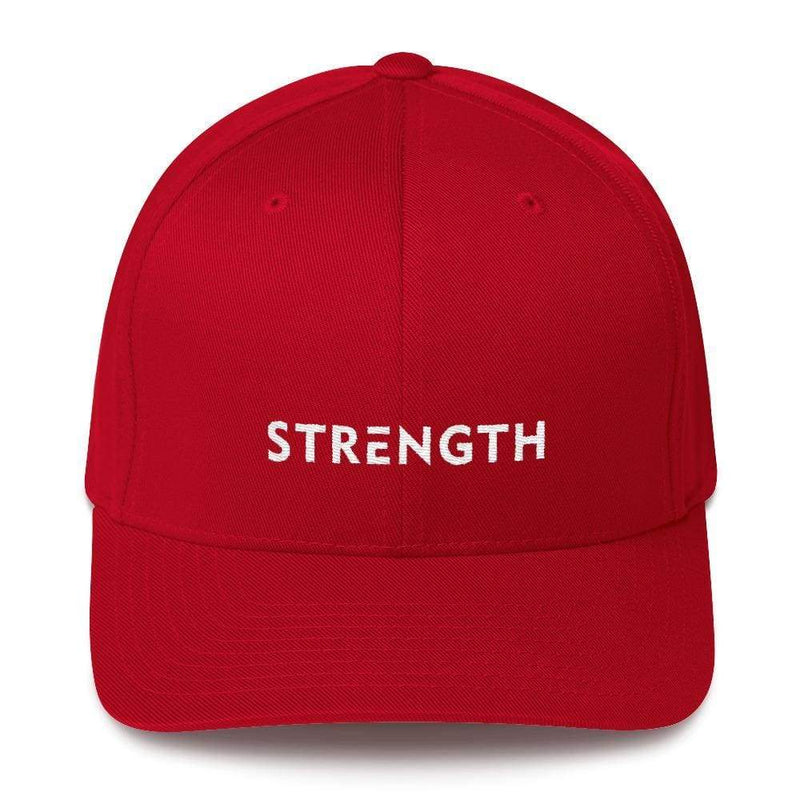 Strength Fitted Twill Flexfit Baseball Hat - S/m / Red - Hats