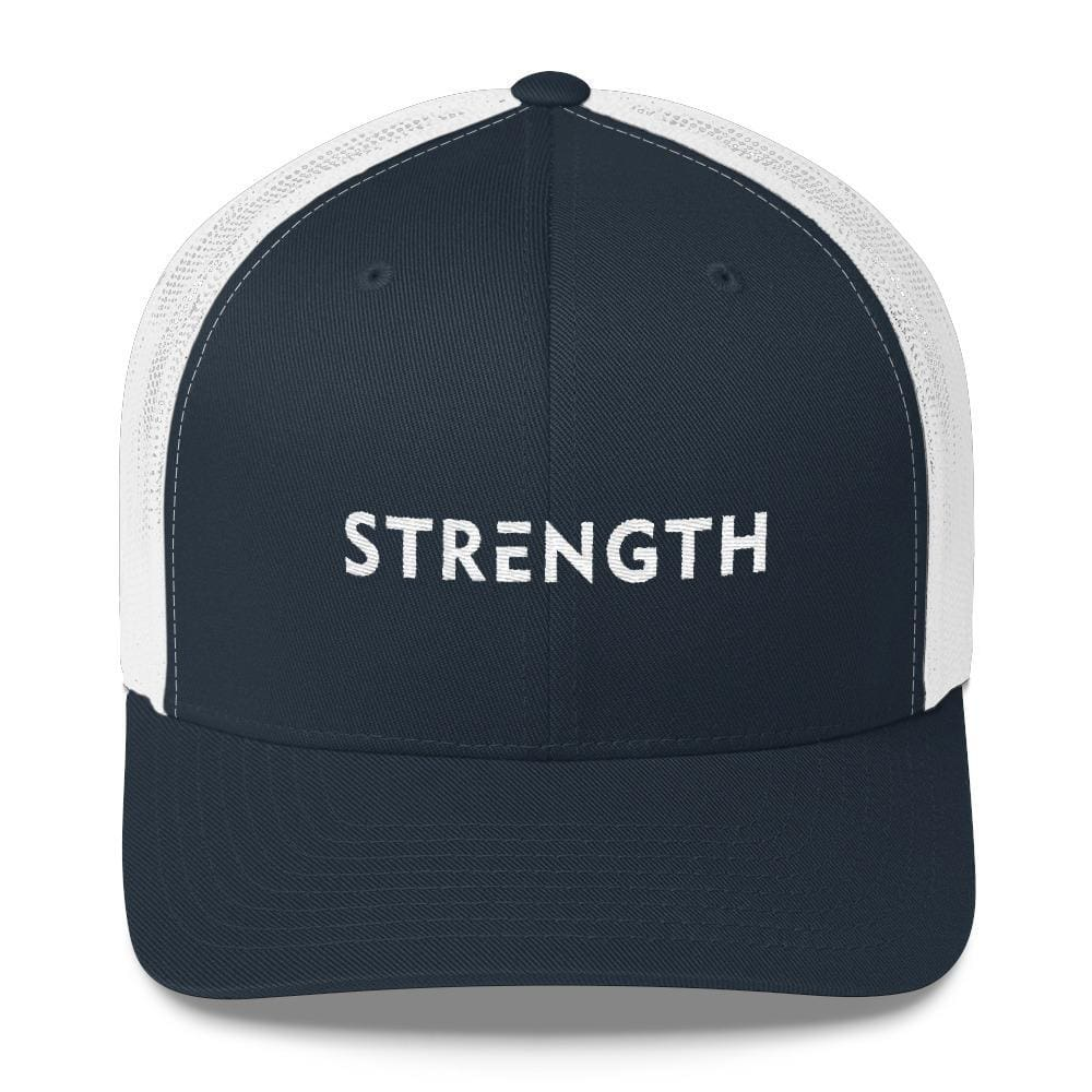 Load image into Gallery viewer, Strength Snapback Trucker Hat - One-size / Navy/ White - Hats