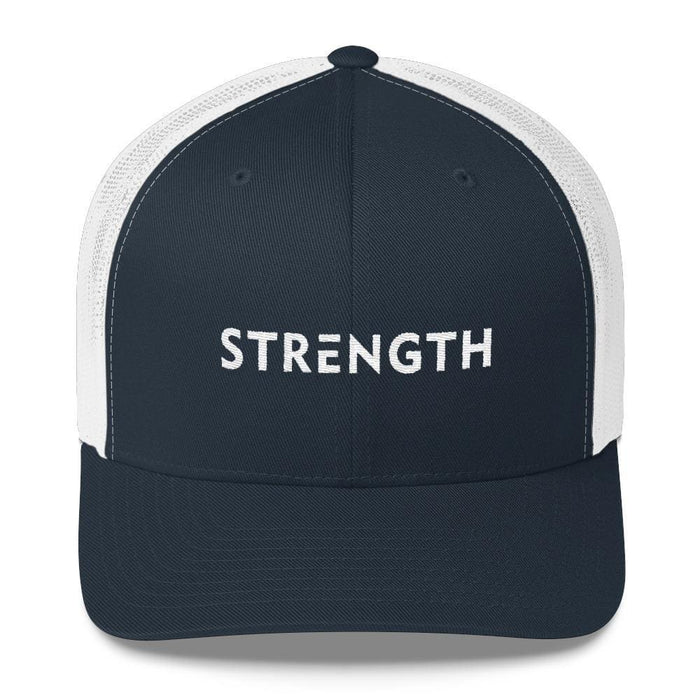 Strength Snapback Trucker Hat - One-size / Navy/ White - Hats