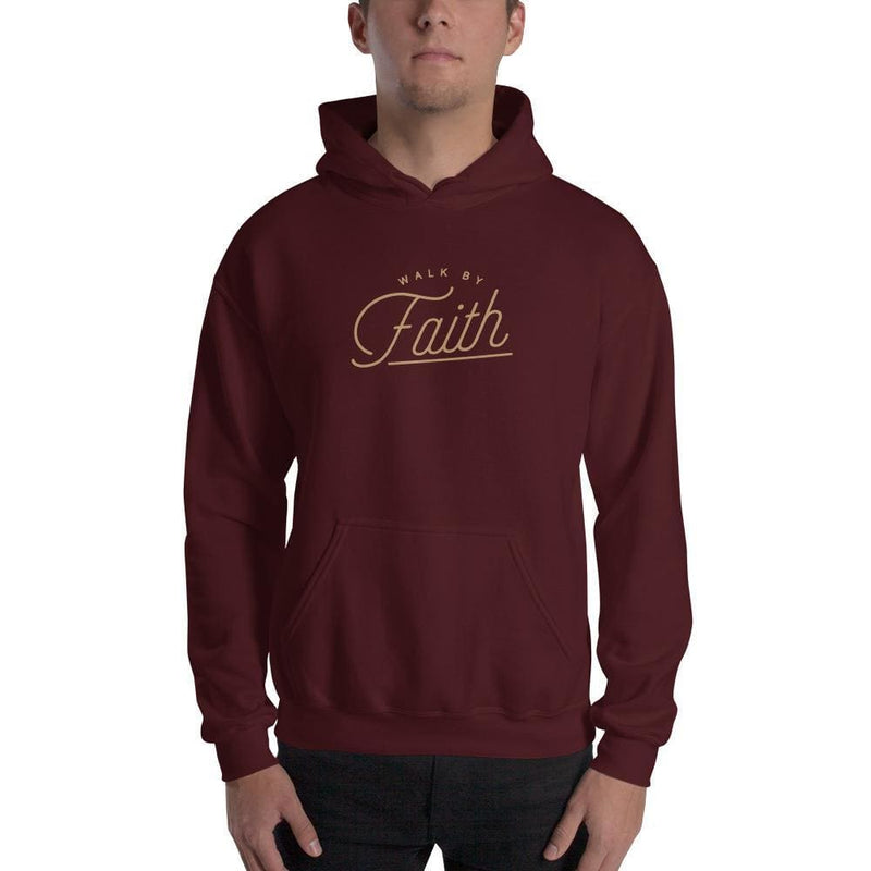 Walk by Faith Christian Hoodie Sweatshirt - S / Maroon - Sweatshirts