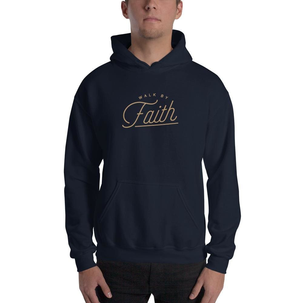 Walk by Faith Christian Hoodie Sweatshirt - S / Navy - Sweatshirts
