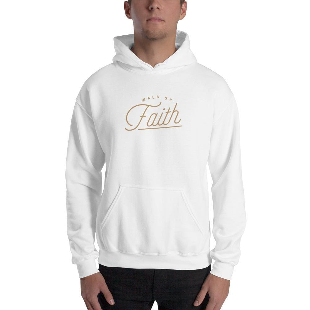 Walk by Faith Christian Hoodie Sweatshirt - S / White - Sweatshirts