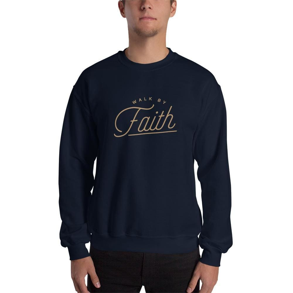 Load image into Gallery viewer, Walk by Faith Christian Sweatshirt - S / Navy - Sweatshirts