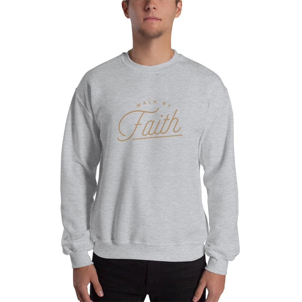 Load image into Gallery viewer, Walk by Faith Christian Sweatshirt - S / Sport Grey - Sweatshirts