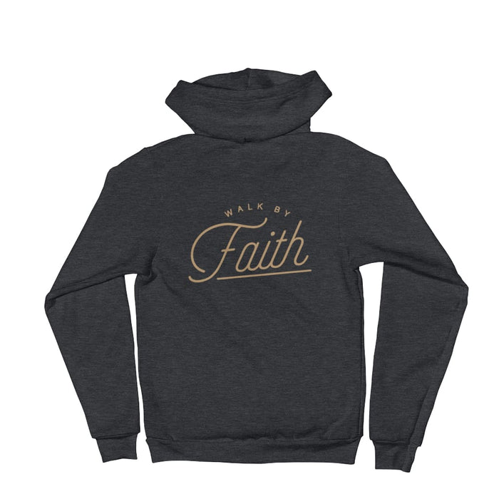 Walk by Faith Christian Zip Up Hoodie - S / Dark Heather Grey - Sweatshirts