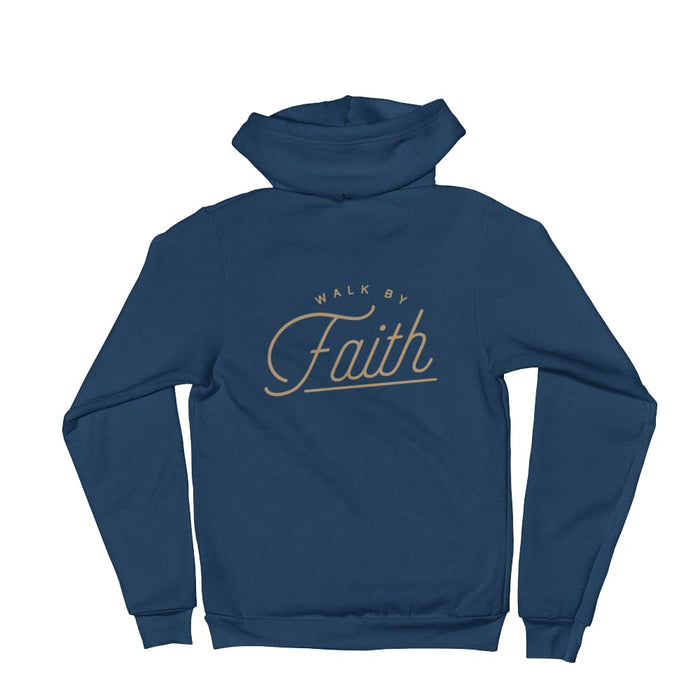 Walk by Faith Christian Zip Up Hoodie - S / Sea Blue - Sweatshirts