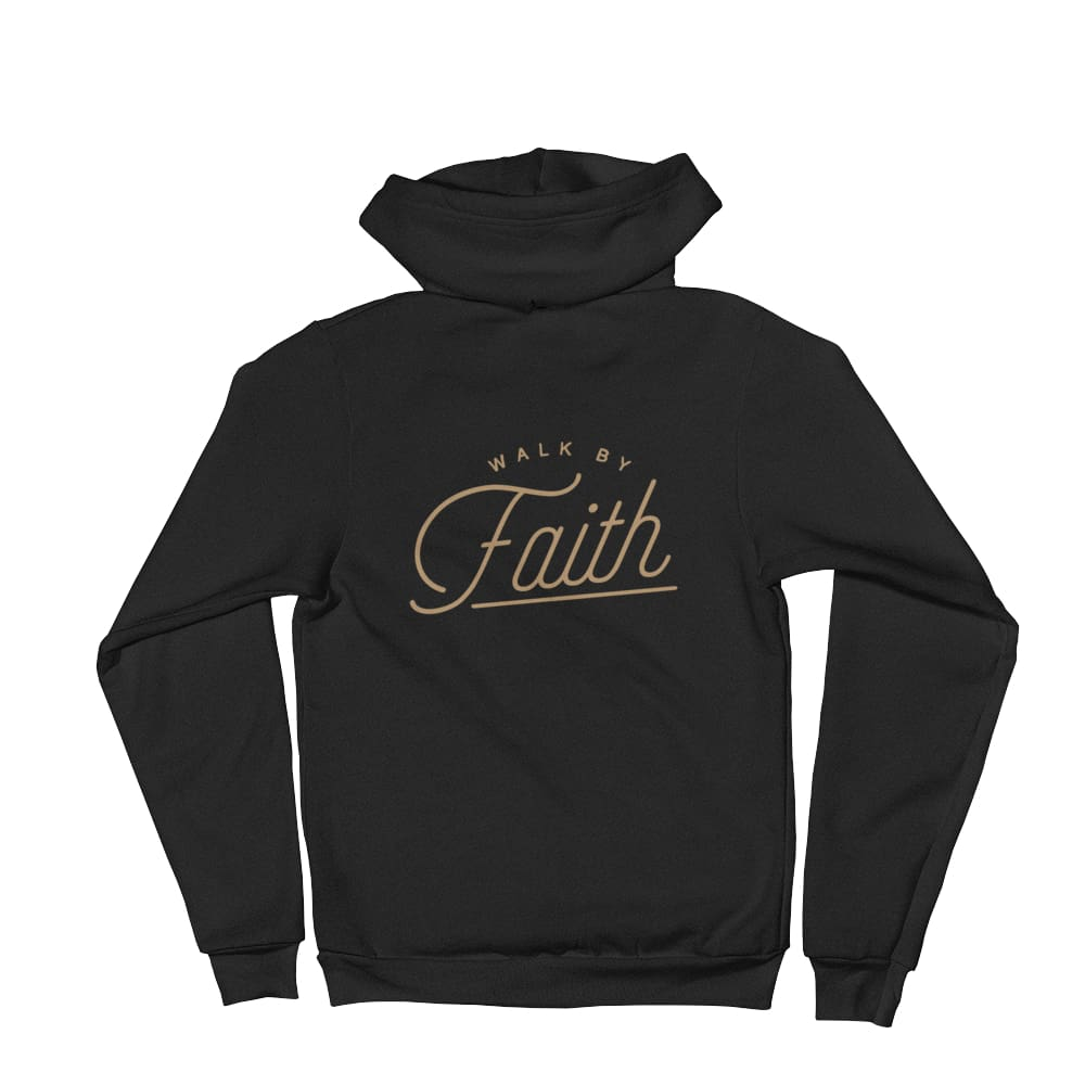 Load image into Gallery viewer, Walk by Faith Christian Zip Up Hoodie - XS / Black - Sweatshirts